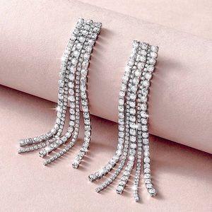 2/$20!  Silver Pave Crystal Tassel Earrings